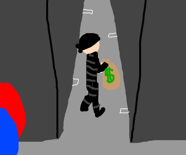 burglar with money bag goes down an ally