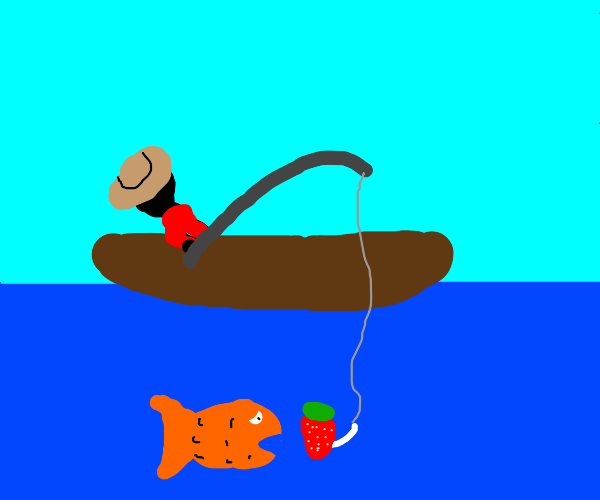 A man caught fish by fishing with strawberry