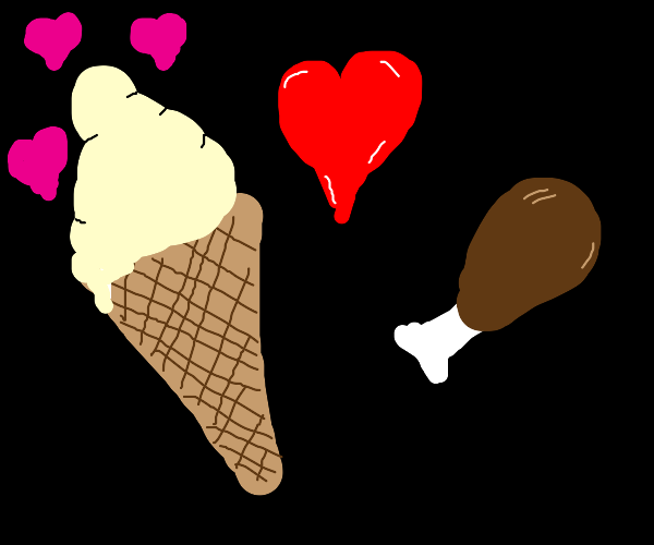 Ice cream cone in love with piece of meat