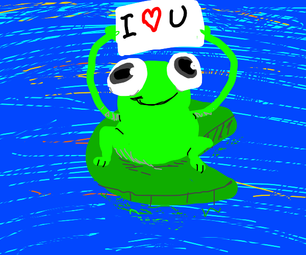 frog holding an i love you sign