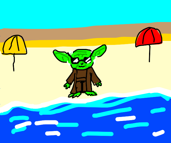 yoda at the beach