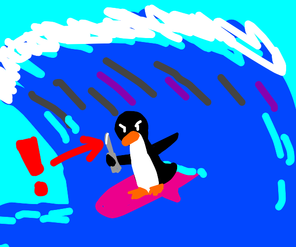 Penguin with a knife surfing!