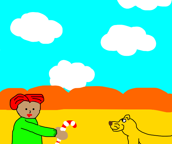 Redhead Girl give candy cane to a female lion