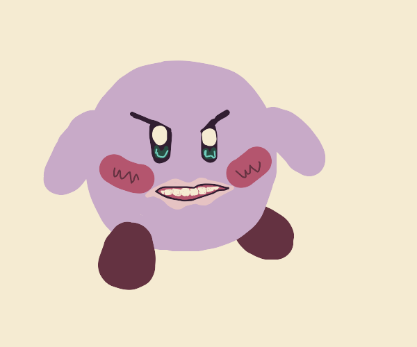 kirby with human teeth