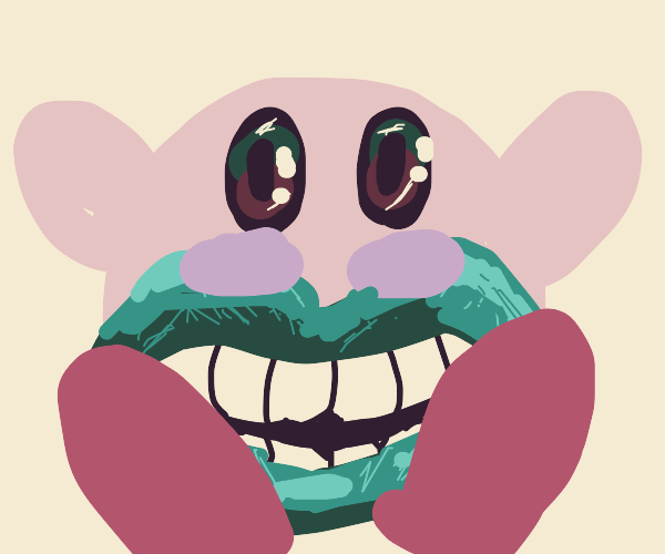Kirby with a horrifying human mouth