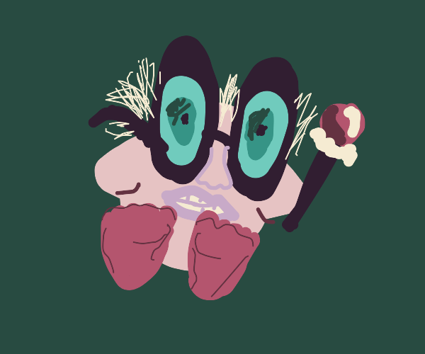 Kirby with awkwardly realistic face & glasses