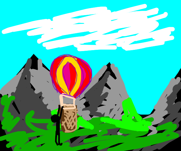Man broading a hot air balloon