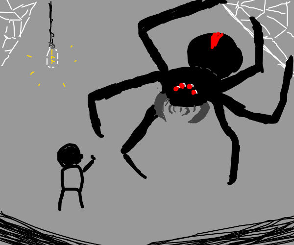 Spider torments a tiny man