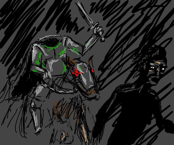 man running from hollow knight