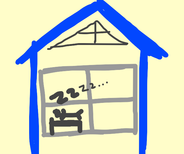 man sleeping in his house with a window