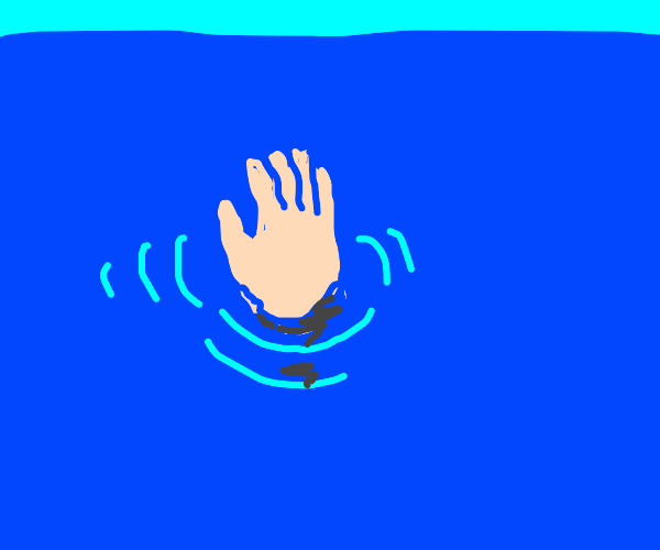 drowning person, hand above water