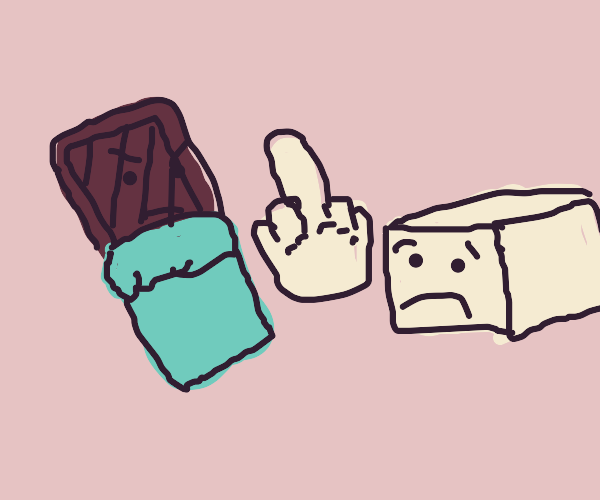 a candy bar flipping off brick of cocaine