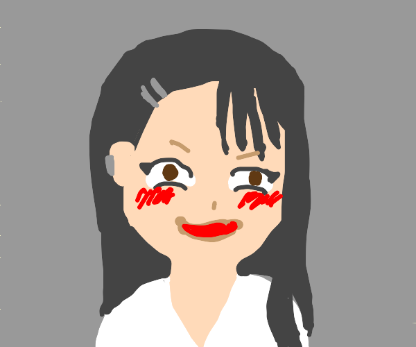 Anime girl with lusty face