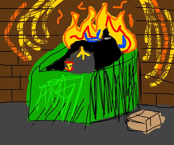 Dumpster on fire