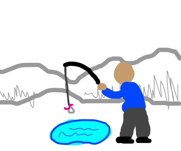 Man fishing in a smol pond