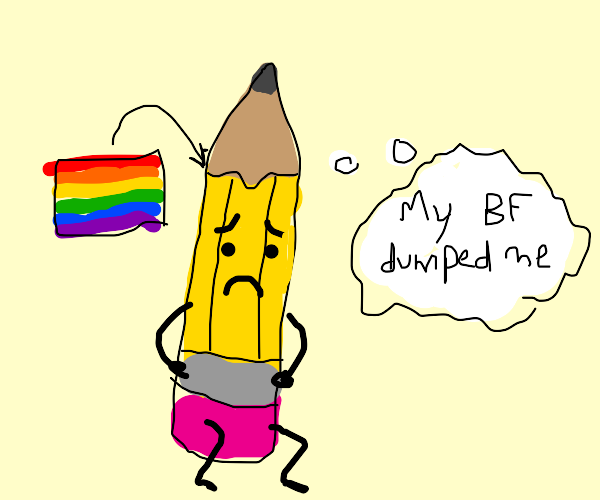 sad gay pencil