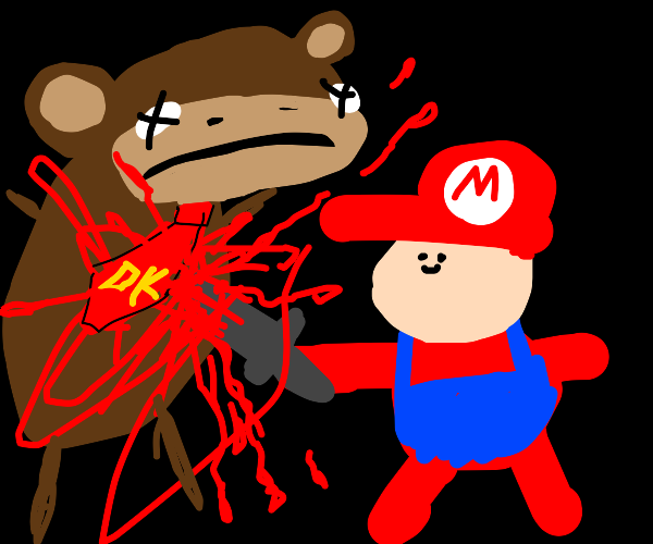 mario is going to put down donkey kong