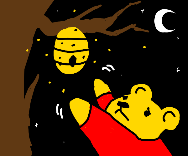 Pooh trying to reach honey