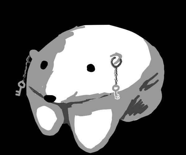 Baby Polar Bear With Keychains On It's Ears