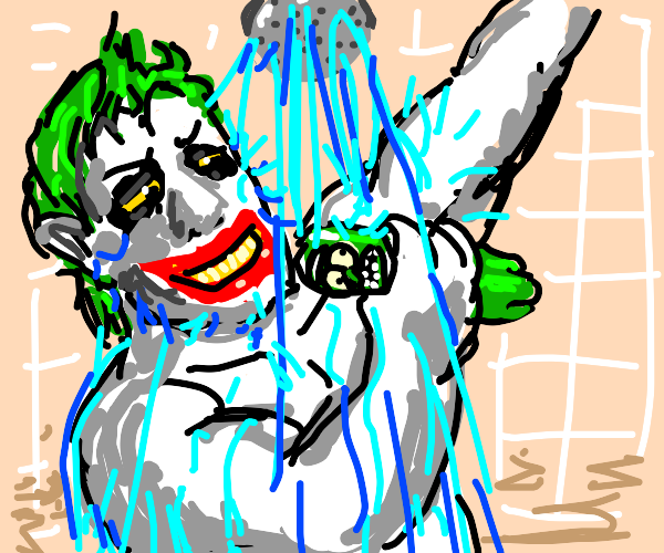 Joker and Pickle Rick in the shower