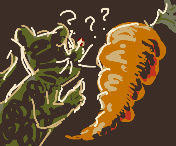 Rat questions carrot in dark room