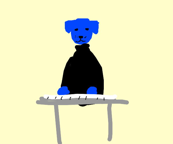Dog is part of the Blue Man Group