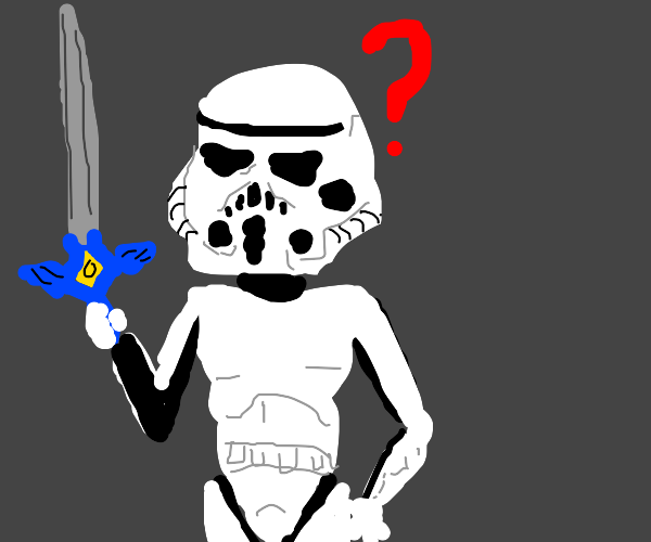Clone trooper with a sword is confused