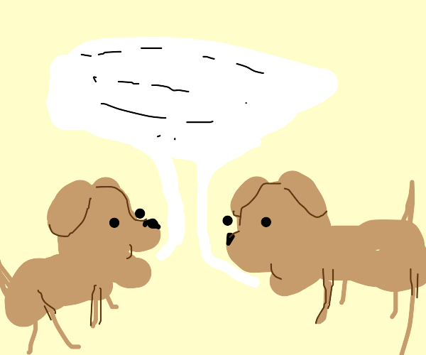 two dogs talking to each other