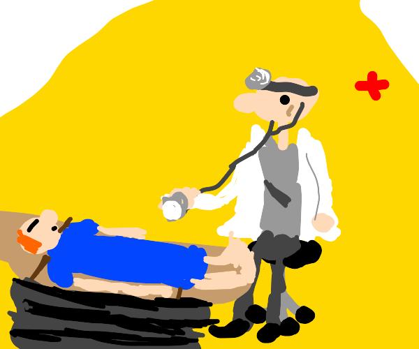Doctor stethoscope & sleeping patient