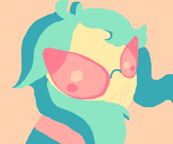 Sharp grin, pink sunglasses, blue hair