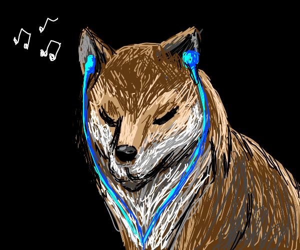 Wolf Listening To Music