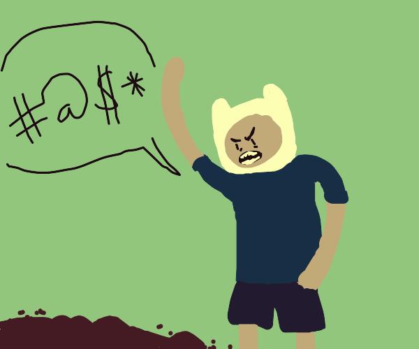 finn from adventure time curses the dirt