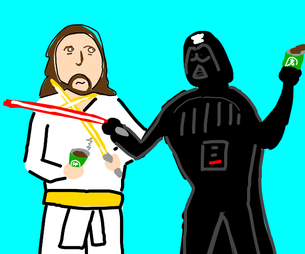 Obi Wan and his coffee fights Darth Vader