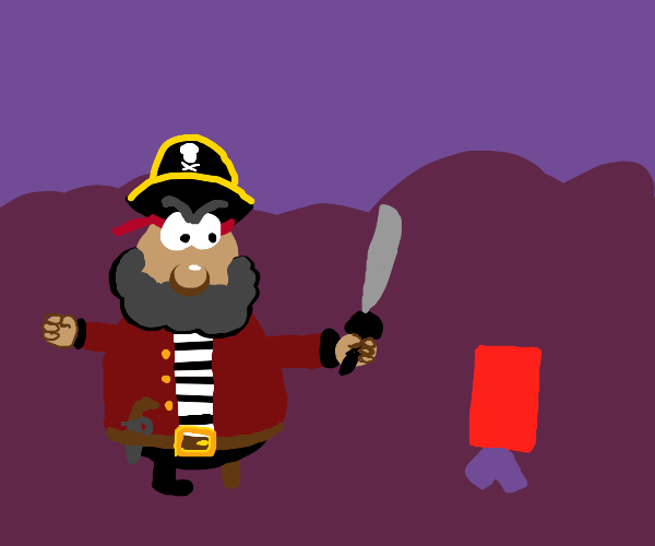 Pirate angry with small boy