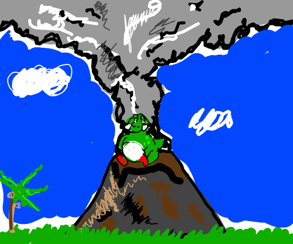 Fat Yoshi On Top Of A Volcano