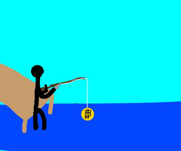 guy catching bit-coin