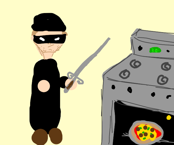 A criminal, a sword, and a pizza in an oven