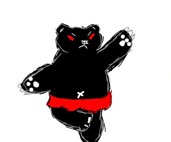 black and white dancing evil bear
