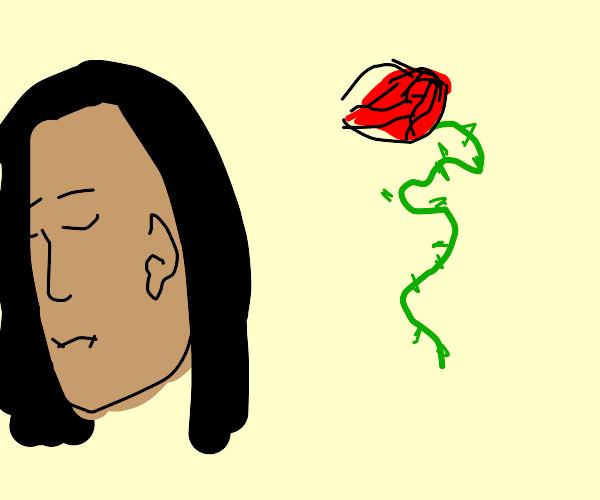Girl ignoring floating rose