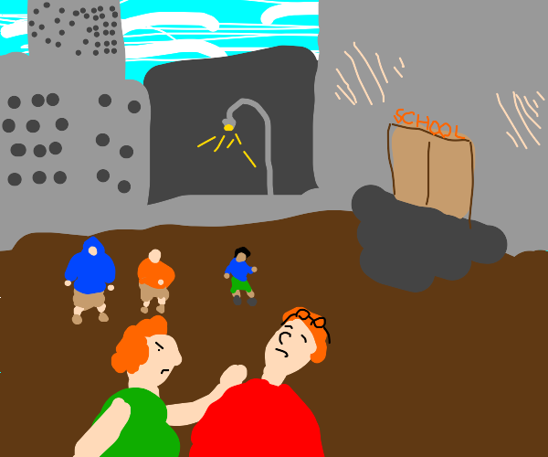 2 ginger children,one with glasses, are fight