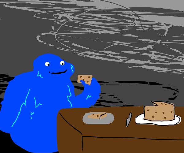 Cookie monster tries cookie cake