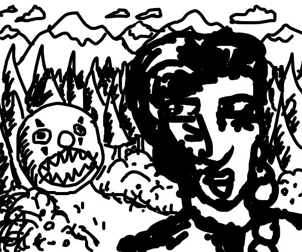 Alpine girl sees a clown chain chomp