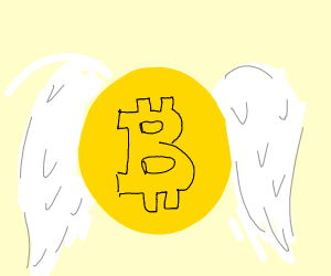 Bitcoin with angel wings