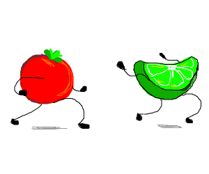 tomato chasing a lime