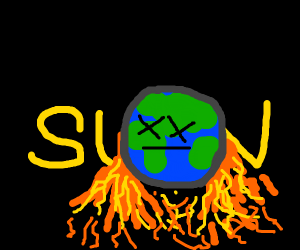 Earth impaled by sun