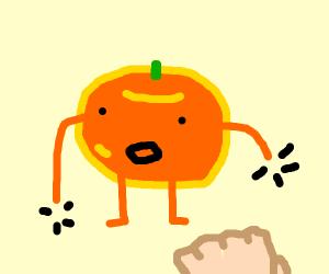 Fistbump an orange but it has no hands