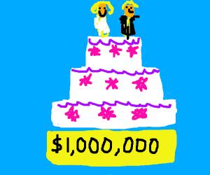 an overpriced wedding cake