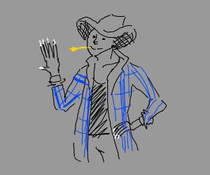 farmer with white nail polish