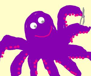 octopus holding tweezers...?