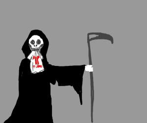Death eating a T-series T-shirt
